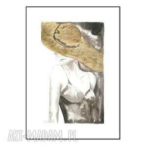 cykl kobiety i kapelusze - kapelusz v, ręcznie malowane, grafika, oryginał