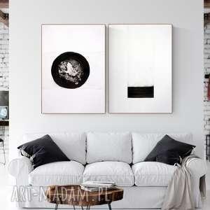 zestaw 2 grafik 50x70 cm wykonanych ręcznie, abstrakcja, elegancki minimalizm