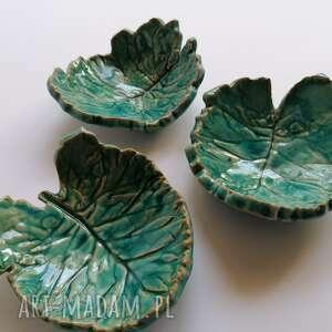 ceramika komplet listeczki - miseczki, użytkowa, pomysł na prezent