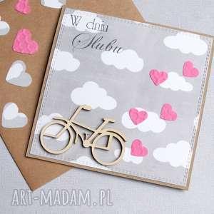 rowerowa kartka ślubna grey pink, rower, rowerzysta, rowerek, rowery