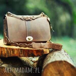 mini torba na ramię lub ukos w kolorze brązowym, wieczorowa, stylowa damska