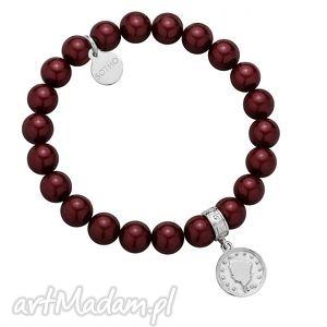 bransoletki bordowa bransoletka z pereł swarovski crystal ze srebrną monetą, modna