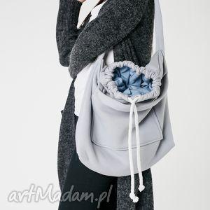 torba dzianinowa worek szaro-jeansowy, torba, dzianinowa, duża, pojemna,