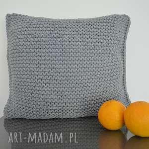 poduszka ze sznurka bawełnianego 50x50 cm - ciemno szara, poduszka, sznurekbawełniany