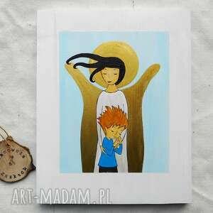 anioł stróż dla chłopca, anioł, z chłopcem, pamiątka na chrzest