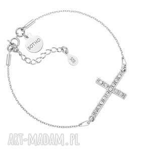 srebrna bransoletka z krzyżem wysadzanym swarovski® crystal regulowana