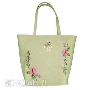 torba gwiazd klasyczna - muflon ecru kwiaty, torebka, manzana, hafty
