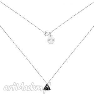 sotho srebrny naszyjnik z czarnym kryształowym trójkącikiem