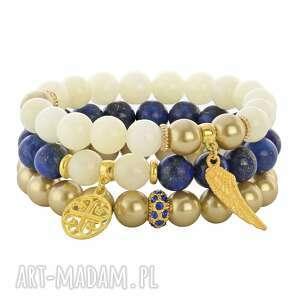 mia 3 - cream gold & navy blue - skrzydło, jadeit, lapis