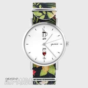 zegarki zegarek - kawa i wino kwiaty, nato, zegarek, bransoletka, tropikalny