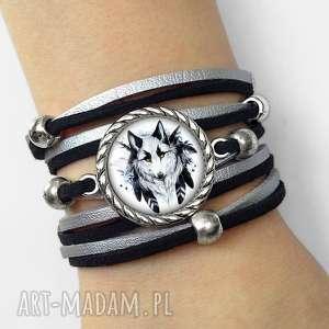 Bransoletka WILK - ,bransoletka,wilk,wilkiem,aztecka,pióra,symboliczna,