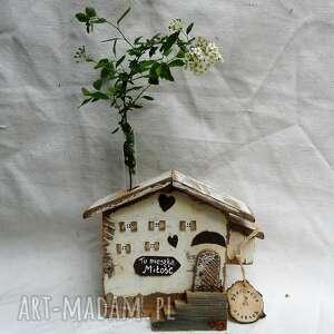dekoracje rustykalny domek z menzurką, drewna, na kwiat, menzurka
