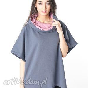 obszerna bluzka oversize narzutka stalowy - wrzos, bawełna, dzianina, wiosna