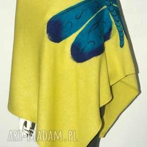 Ponczo filcowane wełną zdobione poncho feltrisimi ważka