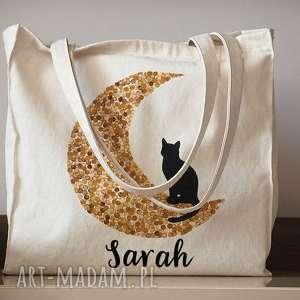 ręcznie malowana torba z kotem, torba, ekotorba, kot, shopper