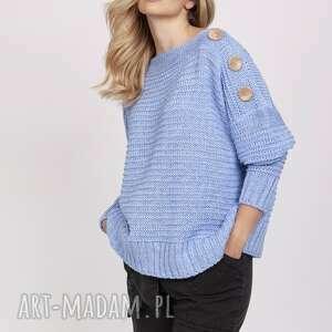 sweter z guzikami - swe218 błękit mkm, do pracy, szkoły, błękit, guziki