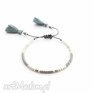 bransoletka minimal - gray and beige, bransoletki, minimal, minimalistyczna