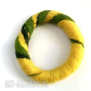 Prezent bransoletka ręcznie formowana filcowa jesienna handmade, bransoletka, etno