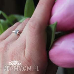 Subtelny akwamaryn anna grys akwamaryn, pierścionek, srebrny