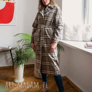 hand-made płaszcze długi flauszowy płaszcz z paskiem - pa103 kratka
