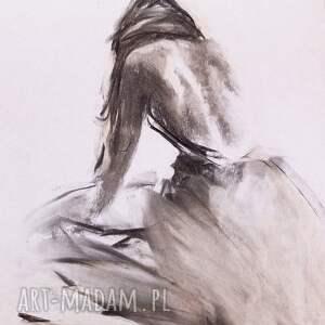unikalny, szkic kobiety 57x39, obraz do salonu, zmysłowy obraz, pastelowy