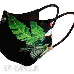 maska na twarz profilowana damska/ męska wielorazowa zielone liście, bawełniana