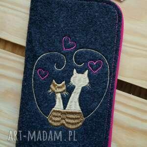 etui filcowe na telefon - zakochane koty, smartfon, pokrowiec, futerał