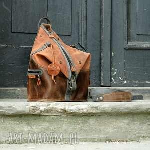 skórzany plecak i torba na ramię 2 w 1, unikalna skórzana torebka laptopa