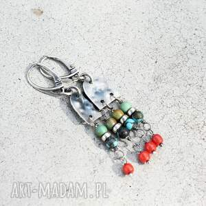 boho - kolczyki, boho, etno, kolorowe turkus, koral, srebro