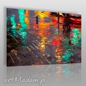 obraz na płótnie - abstrakcja odbicie 120x80 cm 06002 , odbicie, ulica, światła
