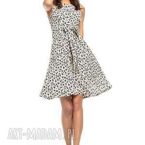 letnia sukienka wiązana, t281, czarny kwiatek na białym tle, letnia
