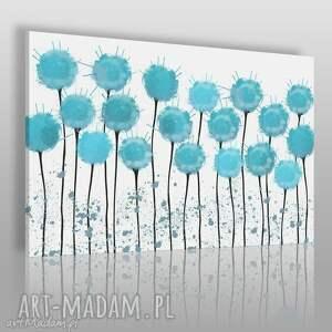 obraz na płótnie - kwiaty błękitny 120x80 cm 65801, kwiaty, abstrakcja, nowoczesny