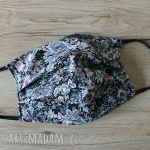 maseczka bawełniana - szare kwiaty, maska, maseczka, maseczki, kolorowe maseczki