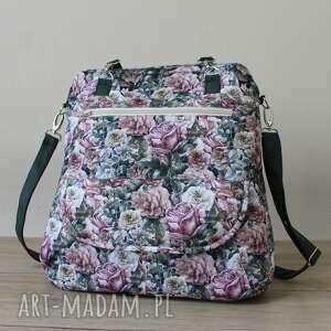 plecak torba listonoszka - róże, plecak, kwiaty, pastele, prezent, święta