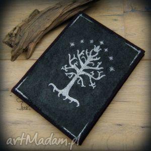 notes a5 z wełnianą twardą okładką srebrne drzewo gondoru - ręcznie robiony i