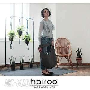 short boogi bag - torba w stylu boho na ramię, szara, hobo, boho, worek