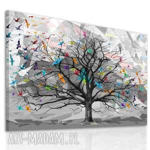 abstrakcyjny pejzaż do salonu i sypialni drukowany na płótnie - drzewo, ptaki