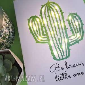 świecący obraz led kaktus cytat motto skandynawski styl lampka nocna