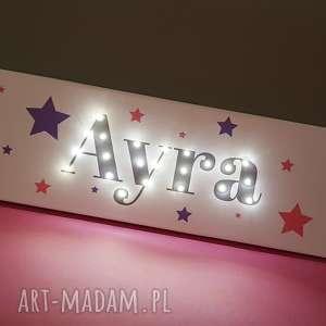 obraz led z imieniem, neon, personalizowany prezent, dekoracja, gwiazdy, lampa