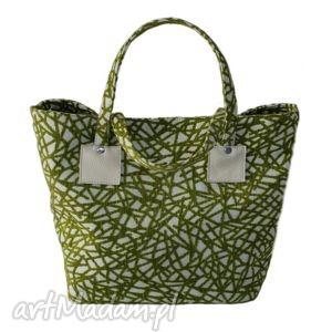 37-0008 Biało-zielona torebka shopper bag 3w1 / ekologiczna torba na zakupy OWL