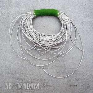 ręcznie wykonane broszki eko wheel - lniana broszka z zielonym