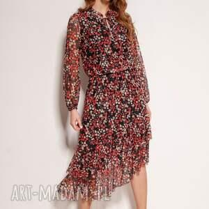 sukienki sukienka we wzory z siateczkowej tkaniny - suk193 czerwony