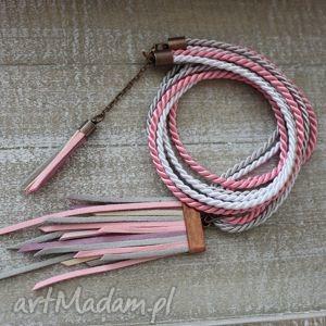 wisiorek chwost różowy naszyjnik w stylu boho - boho, naszyjnik, długi, wisior
