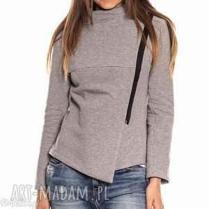 asymetryczna szara bluza damska na zamek s, zip, na-zamek, asymetryczna, ze-stójką