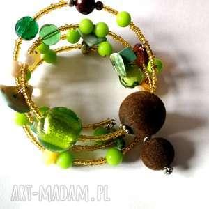 handmade duża bransoletka etno boho orient zielona