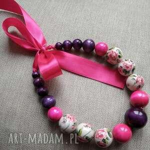 korale drewniane wiązane - róże, korale, pamiątki z polski, drewniane, do stroju