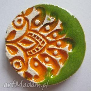 Etniczna broszka, ceramiczna, limonkowa, mandarynkowa, folkowa