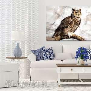 obraz sowa 3 -120x70cm na płótnie puchacz szary biały beż czarny ptak designe