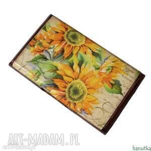 etui słoneczniki - wizytownik, na karty płatnicze, prezent, kobiecy
