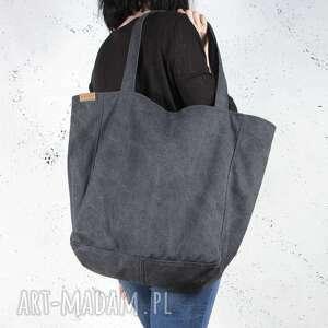 handmade na ramię lazy bag duża, bawełniana, czarna torba zamek /